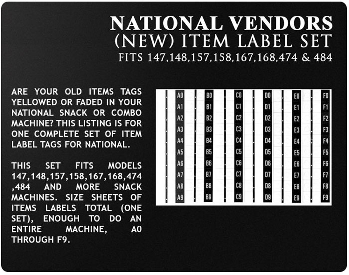 National Vendors 147 snack machine item tags