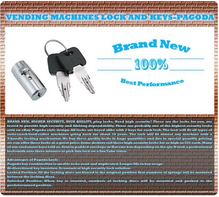 Pagoda Plug locks for vending machines key code keyed alike