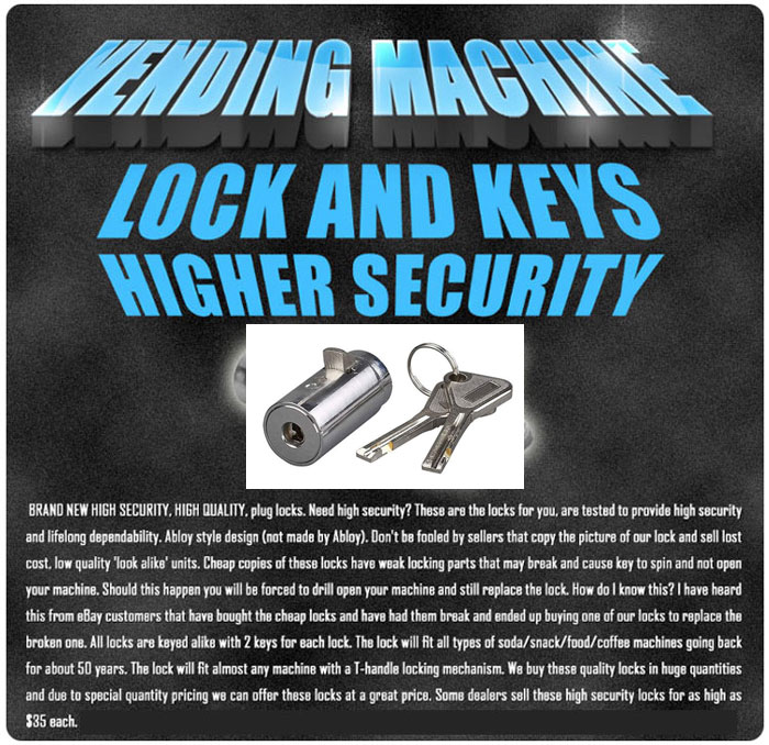 Security locks for vending machines key code #413 keyed alike